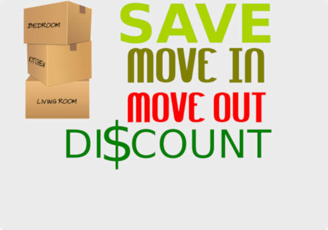Moving in and out cleaning services promo